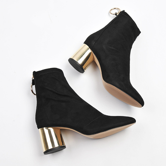 Ankle Boots With Gold Heel JfO5R25O