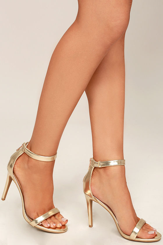 Ankle Strap Heels Gold 2PuD0Teu