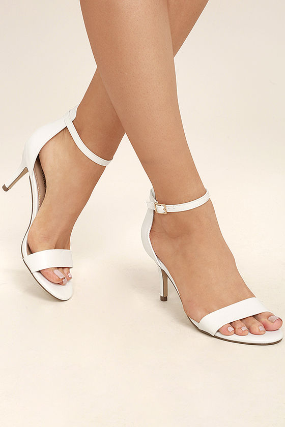 Ankle Strap White Heels VpACyANB