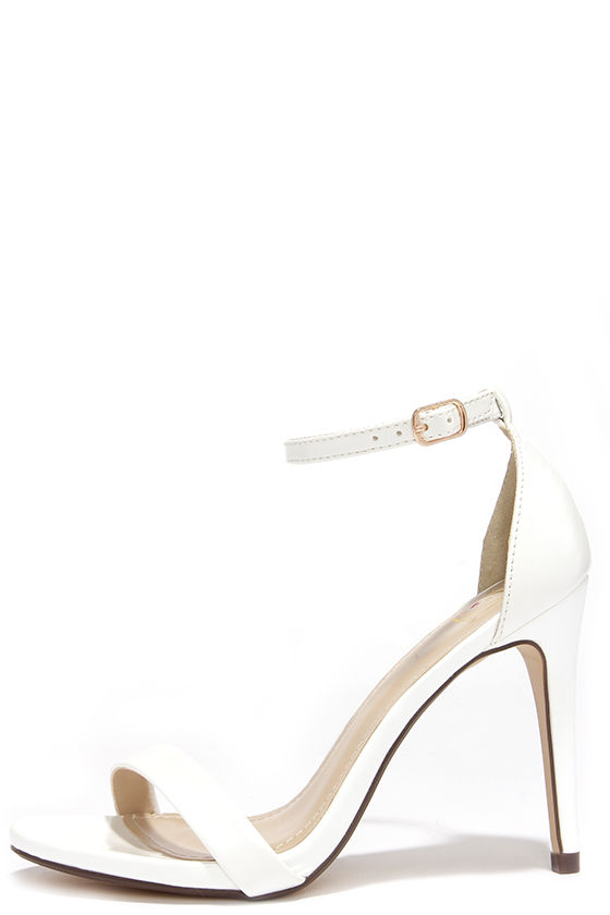 Ankle Strap White Heels ptrCFM20