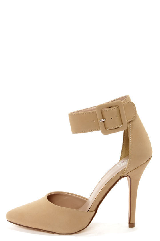 Beige Heels With Ankle Strap 73UEm7MM