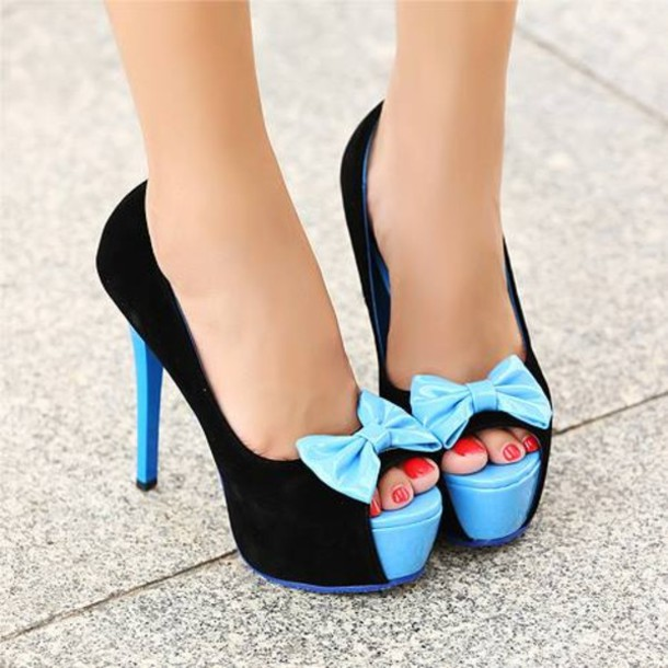 Black And Blue High Heels nkaHfEDY