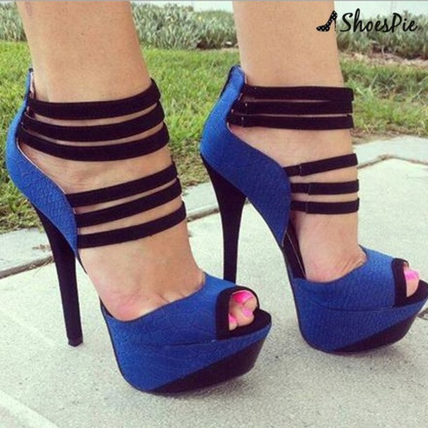 Black And Blue High Heels fnErzcvZ