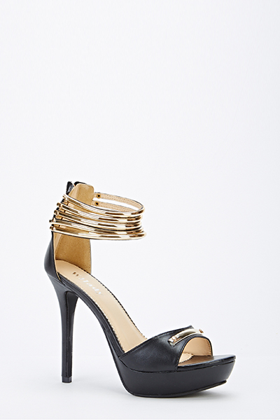 Black And Gold Ankle Strap Heels vJNme3h8