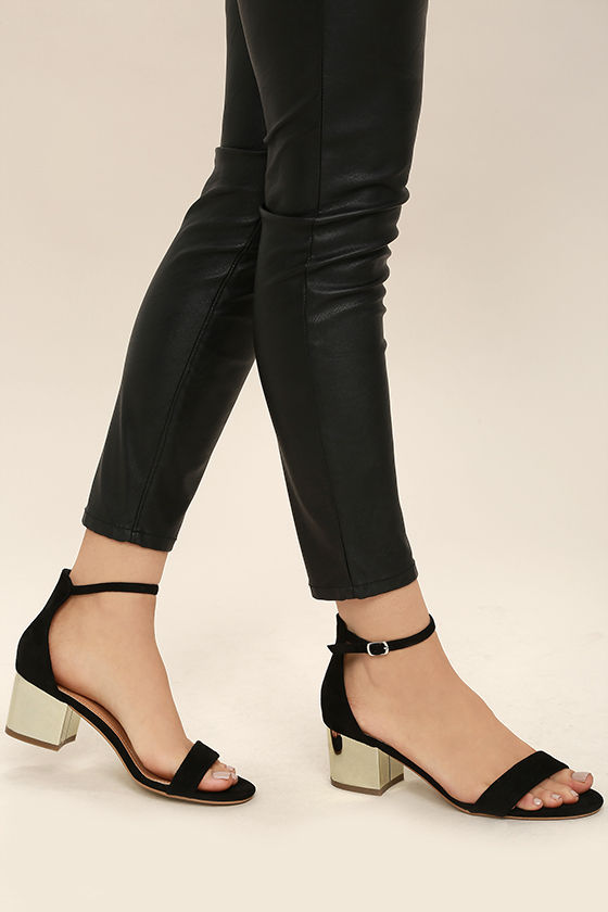Black And Gold Ankle Strap Heels VMZHl6ZC