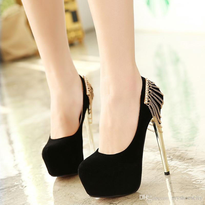 Black And Gold High Heel Shoes w8STHqC3