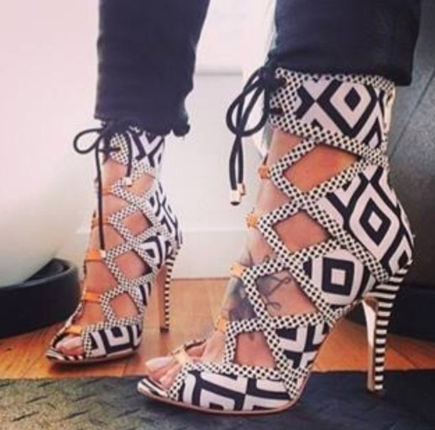 Black And White Lace Up Heels 9XG5kYfY