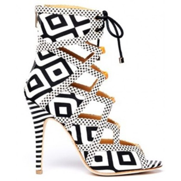 Black And White Lace Up Heels r9SdnD5B