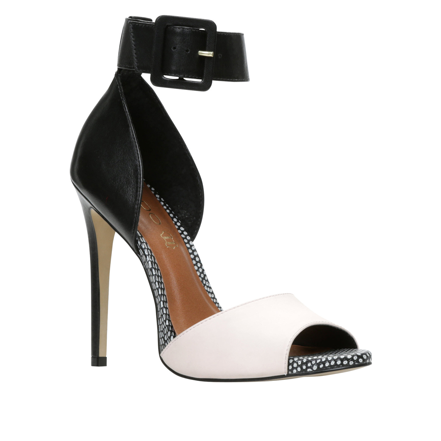 Black And White Open Toe Heels KGXUSdvf