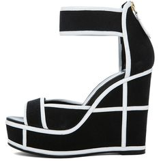 Black And White Wedge Heels 0il585Q7