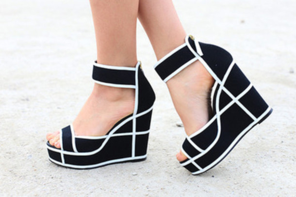 Black And White Wedge Heels 1LCDbuyo