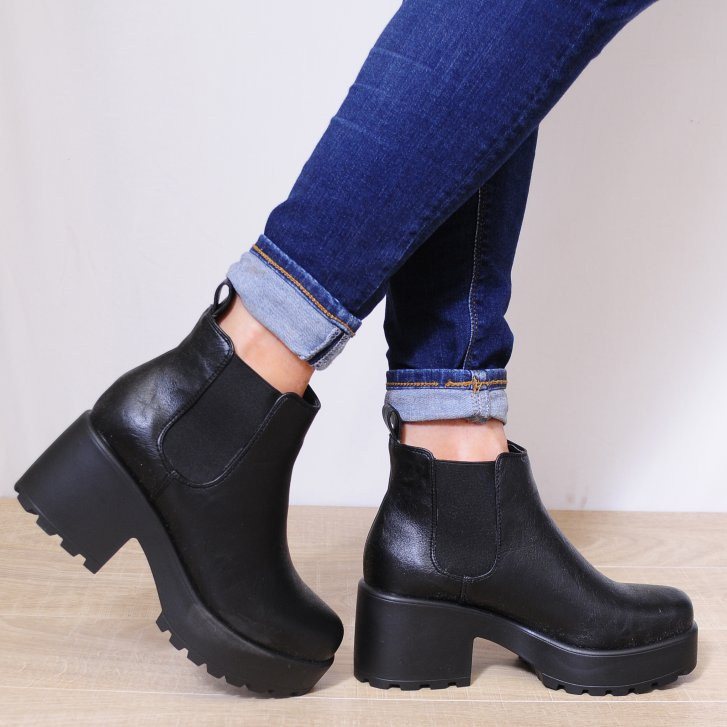 Black Ankle Boots Chunky Heel 0cQWthep
