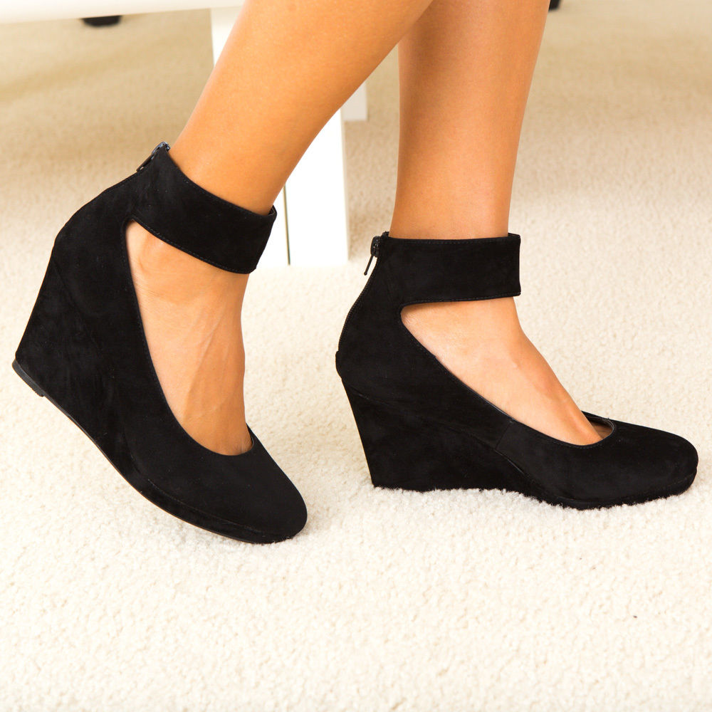 Black Ankle Strap Wedge Heels 1cYZ9ujd