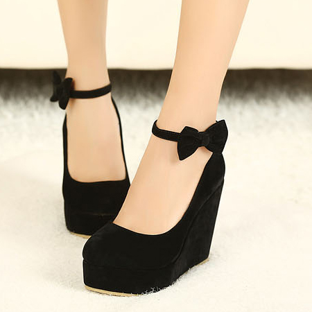 Black Ankle Strap Wedge Heels TiEKwid4