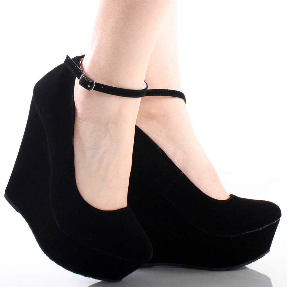Black Ankle Strap Wedge Heels rHcVPdp0