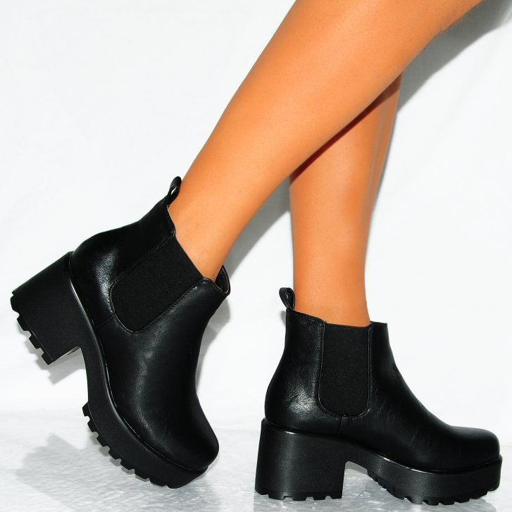 Black Chunky Heel Ankle Boots 0t2KhJS9