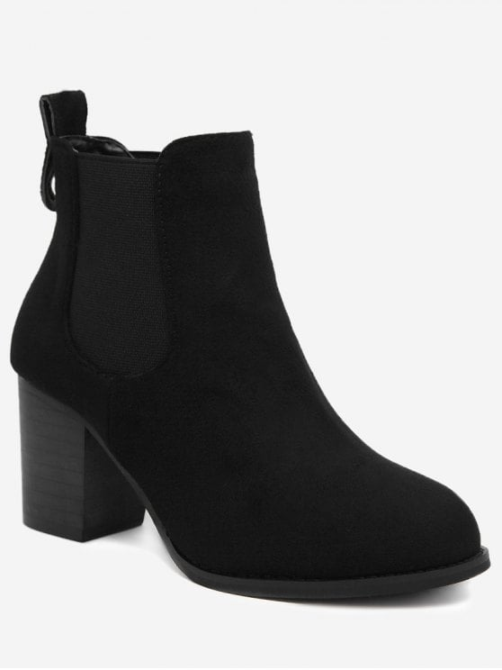 Black Chunky Heel Ankle Boots rrxboMlI