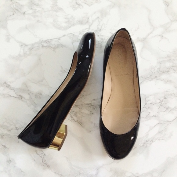 Black Flats With Gold Heel hjhAUEik