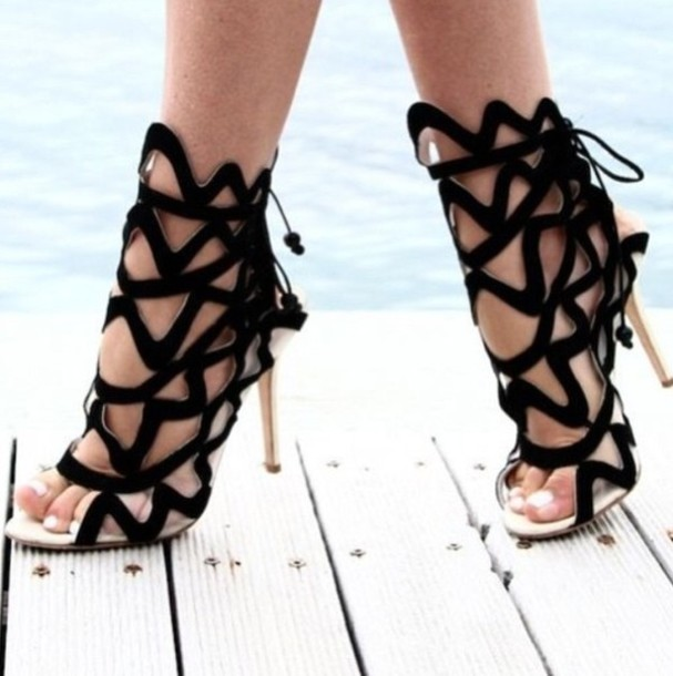 Black High Heel Gladiator Sandals bnEyw1Br