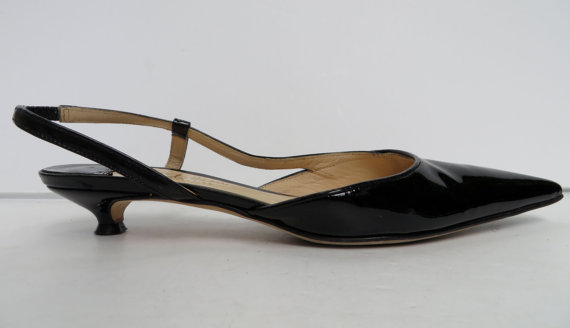Black Kitten Heel Slingbacks fXc1jtDc