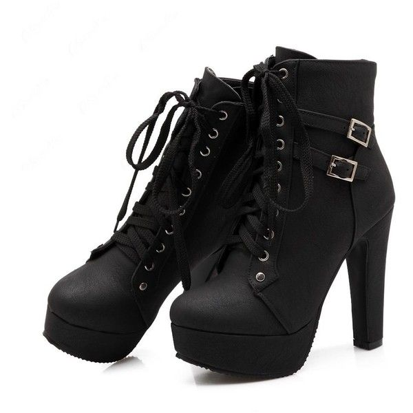 Black Lace Up Heel Booties Sspk6DwT