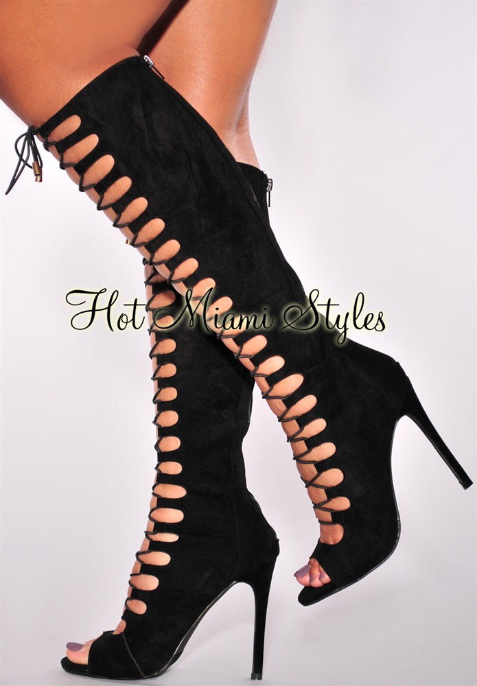 Black Lace Up High Heel Boots FmyWCIFC