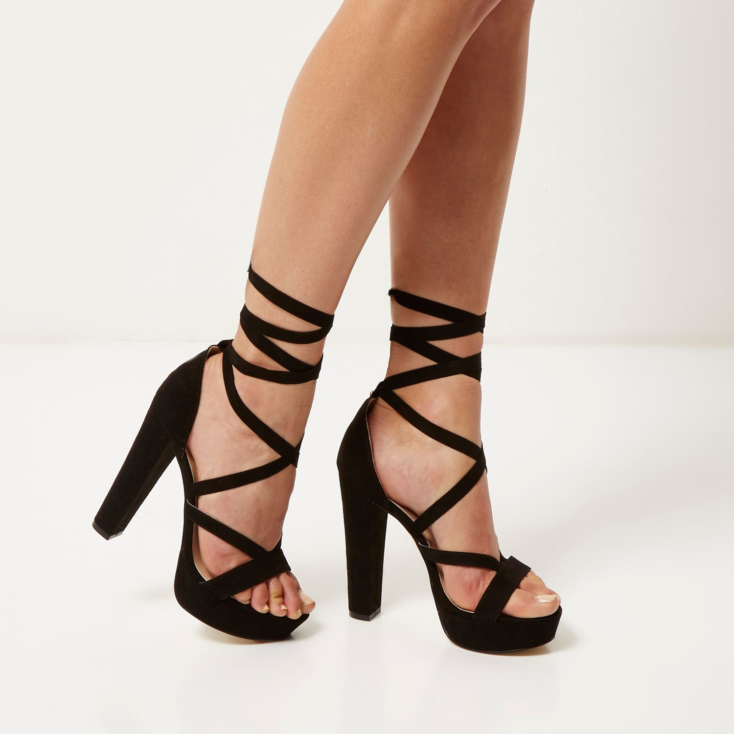 Black Lace Up Platform Heels ALmvLaBy