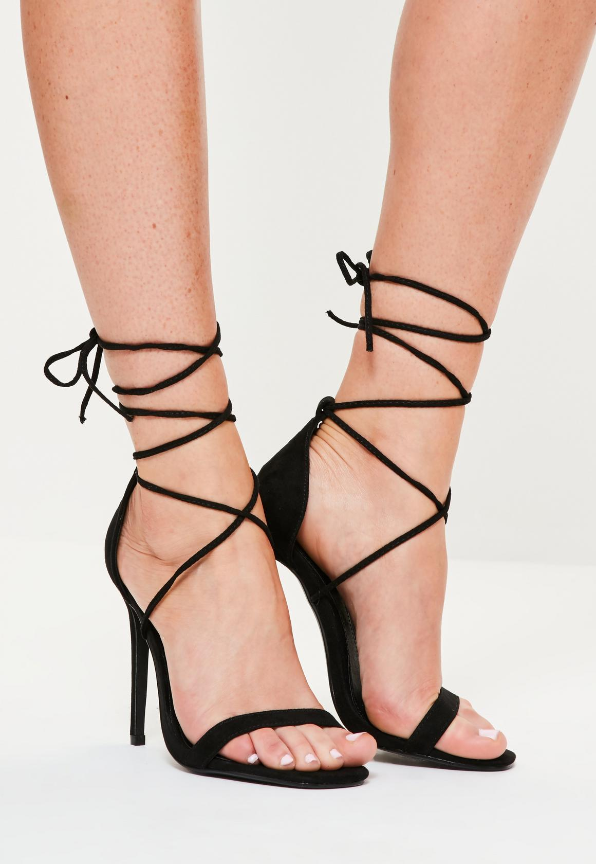 Black Lace Up Sandal Heels 8mfbAJ3b