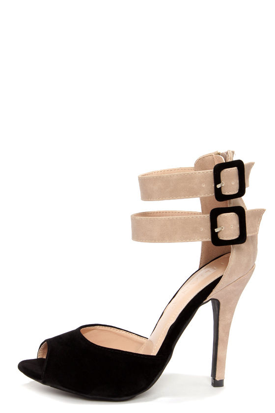 Black Peep Toe Ankle Strap Heels lJn45AVi