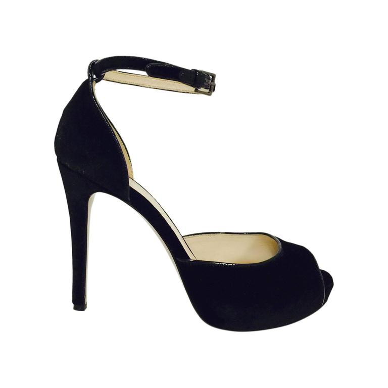 Black Peep Toe Heels With Ankle Strap bTsJjYgy