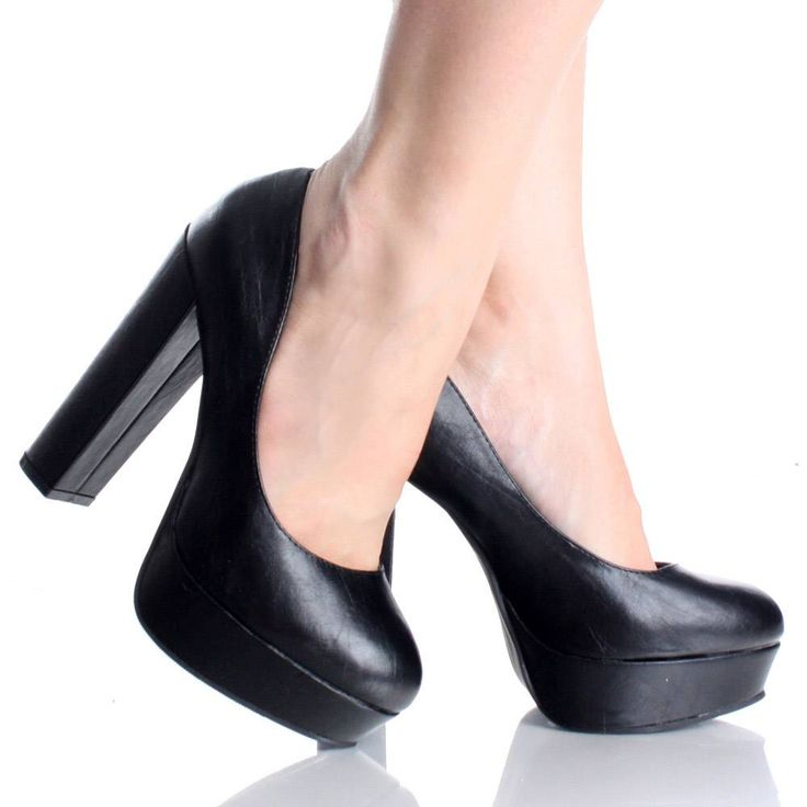 Black Pumps With Chunky Heel Gm84hnm4