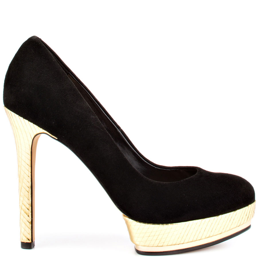 Black Pumps With Gold Heel UzS1dIw6