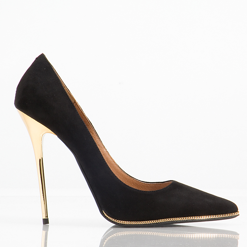 Black Pumps With Gold Heel zM7GWKJc