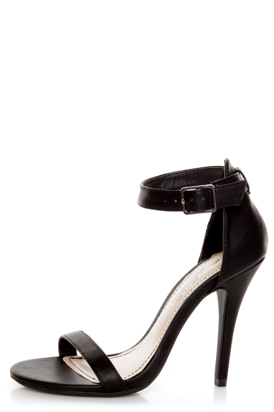Black Sandal Heels With Ankle Strap S28k9b0n