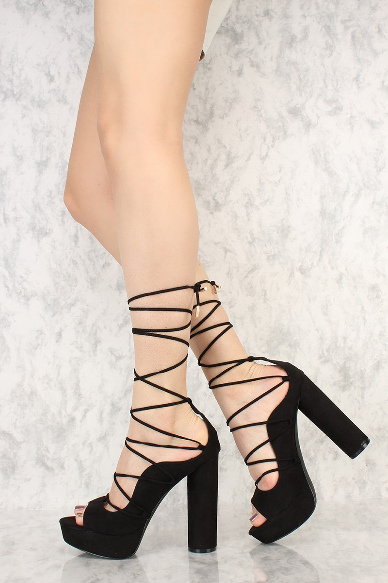 Black Strappy Lace Up Heels bkTRAEzT