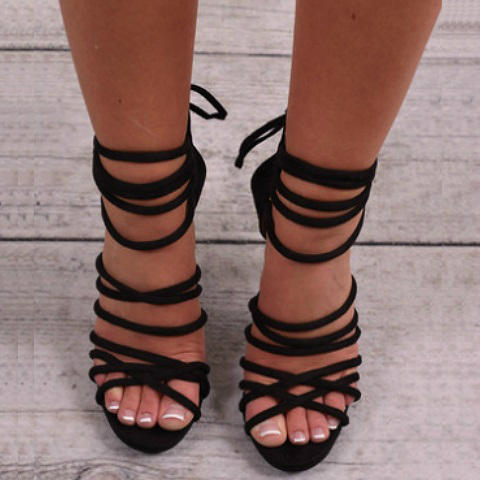 Black Strappy Lace Up Heels 4ruHaIJC