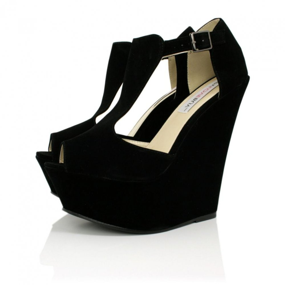 Black Wedge Heel Shoes OZYP7WCI