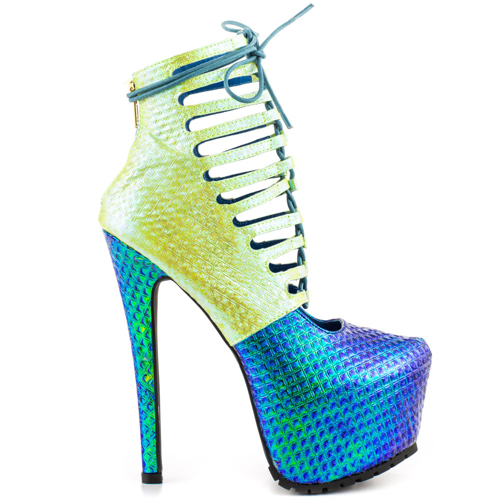 Blue And Green Heels qL395Brs