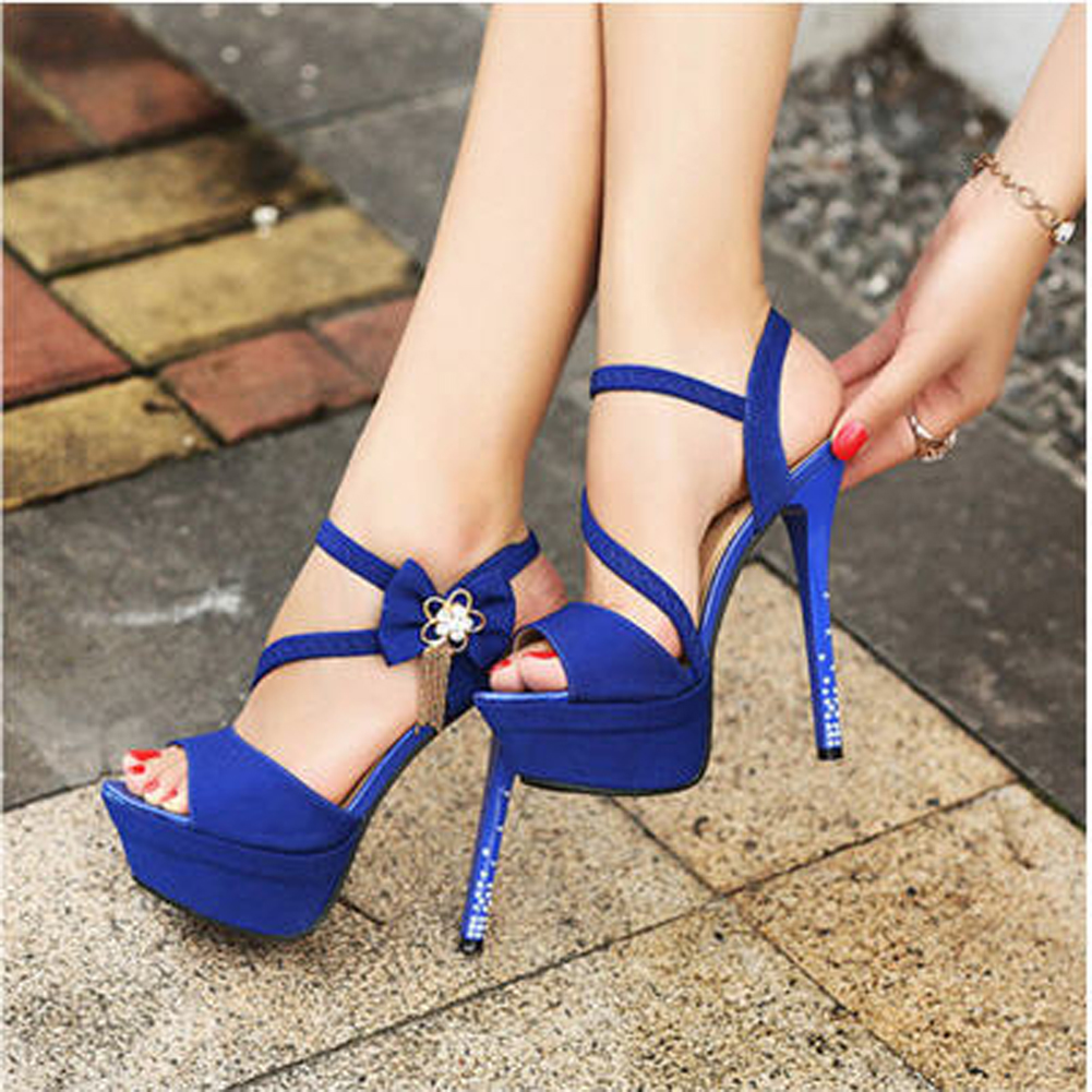 Blue High Heels Wedding Shoes iJerdrlS