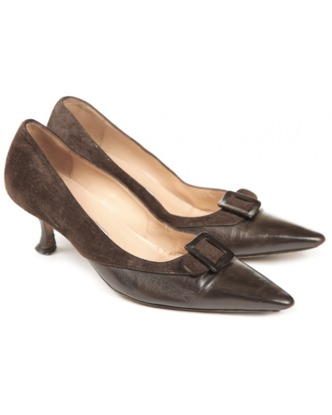 Brown Kitten Heel Pumps GDWyGxJf