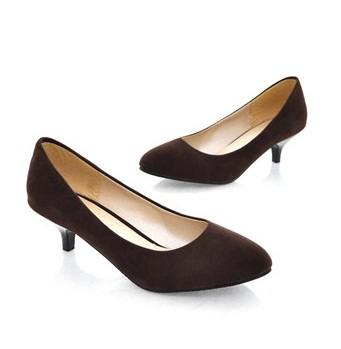 Brown Kitten Heel Pumps INKUNNyF