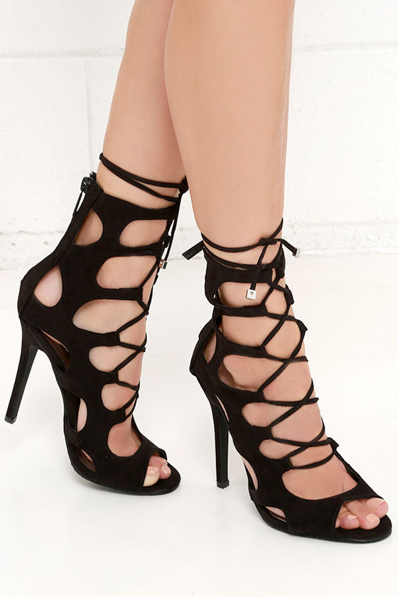 Caged Lace Up Heels AWrQcv2r