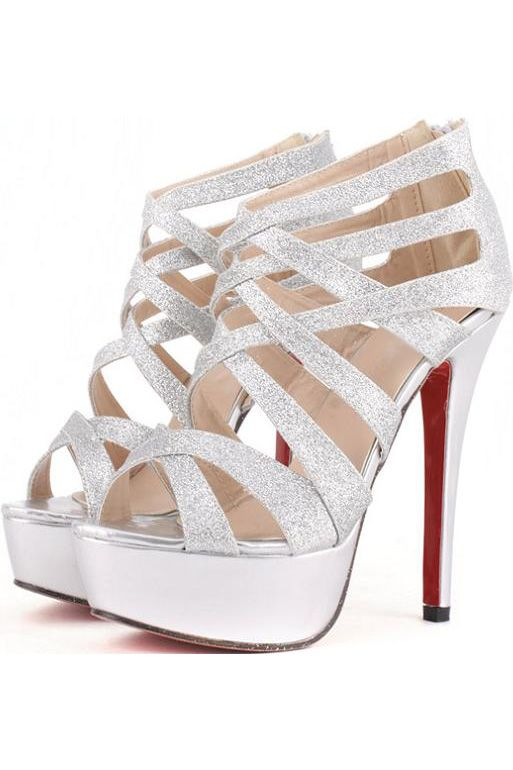 Cheap Silver Strappy Heels 6NudqNKu