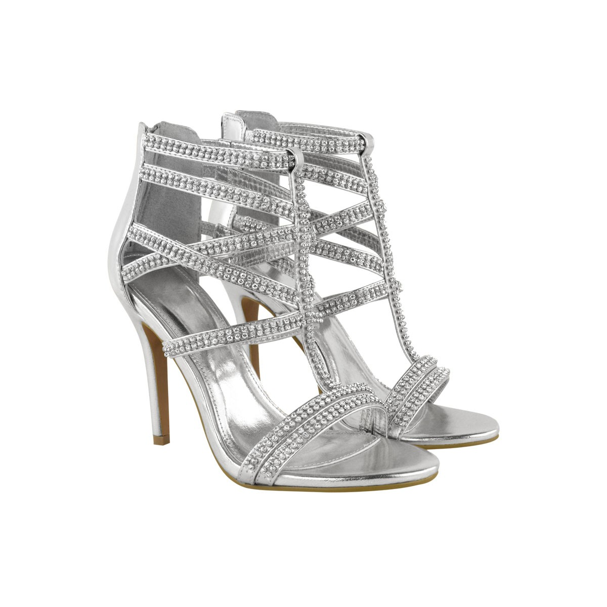 Cheap Silver Strappy Heels IjE4fNq0