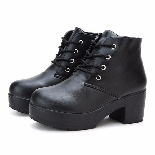 Chunky Heel Boots Lace Up FWmzwa1B