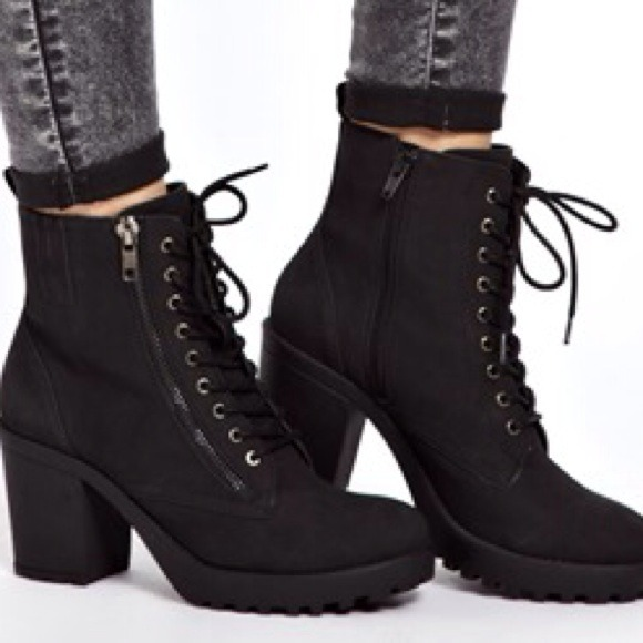 Chunky Heel Boots Lace Up wrbShIyw
