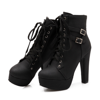 Chunky Heel Boots Lace Up W97eHgwT