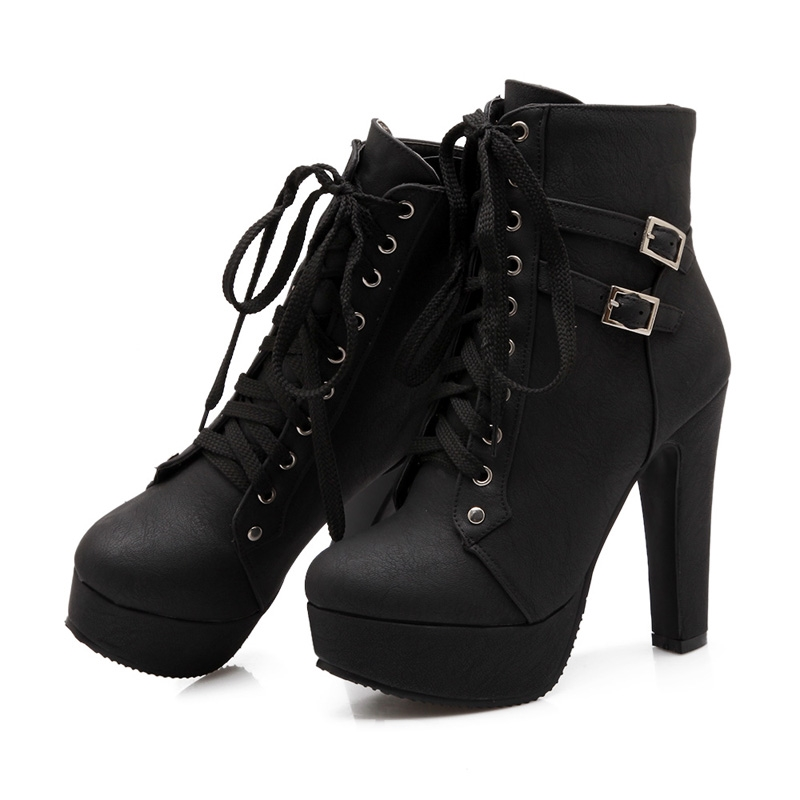 Chunky Heel Lace Up Ankle Boots kW5ouWGW