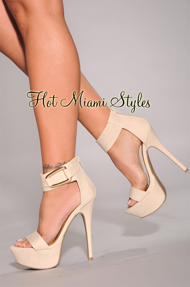 Cream Heels With Ankle Strap rGSXcMaS