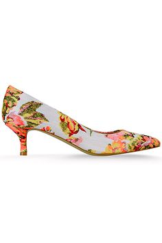 Floral Kitten Heel Shoes aNZGfMDe